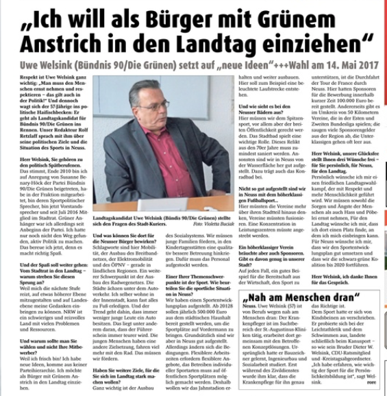 Uwe Welsink: Ich will als Bürger mit Grünem Anstrich in den Landtag einziehen