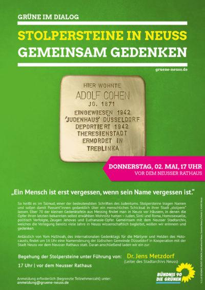 Stolpersteinbegehung an jüdischem Gedenktag @ Neuss Rathaus   Neuss   Nordrhein-Westfalen   Deutschland