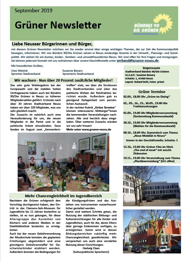 Grüner Newsletter September 2019